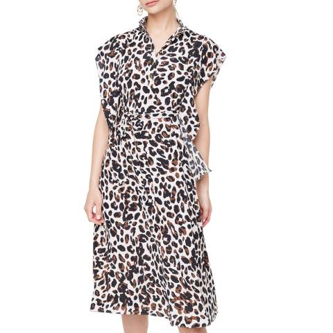 Damsel In A Dress Camel Trudy Leopard Silk Blend Dress