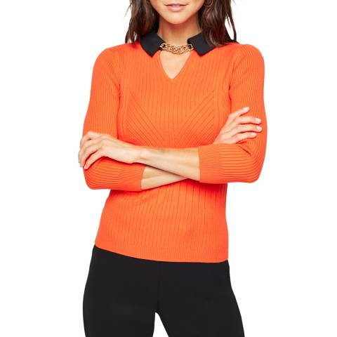 Damsel In A Dress Orange Remey Collar Jumper