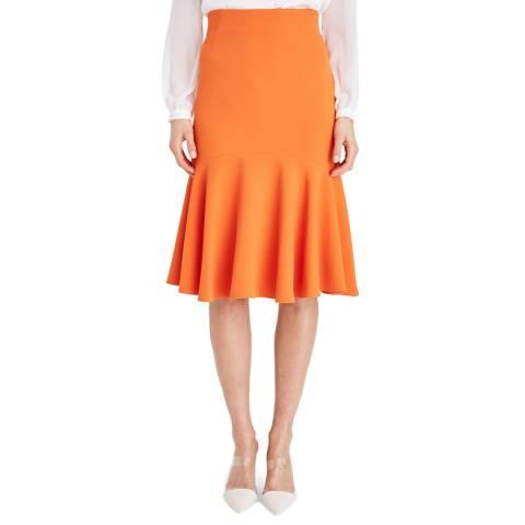 Damsel In A Dress Orange Sati Fluted Skirt