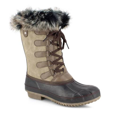 Kimberfeel Beige Candice Faux Fur Cuff Snow Boots