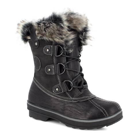 Kimberfeel Black Emmy Faux Fur Cuff Snow Boots