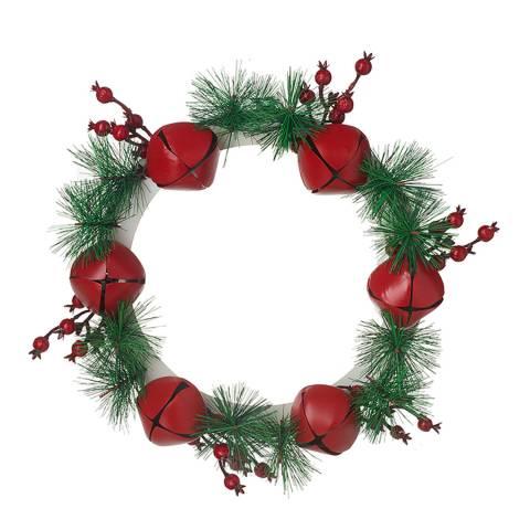 Heaven Sends Small Metal Bell Wreath With Fir &Amp; Berries