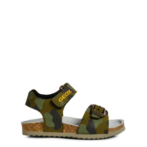 Geox Younger Boy's Green Camo Chalki Sandals