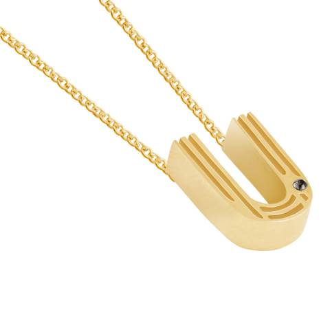 MAJE Gold U Initial Necklace
