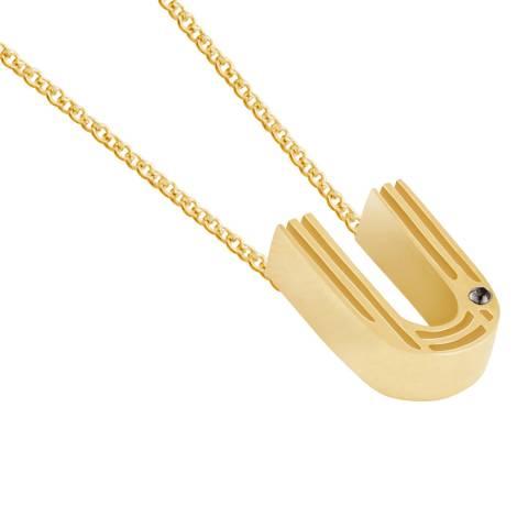 MAJE Gold U Letter Pendant Necklace
