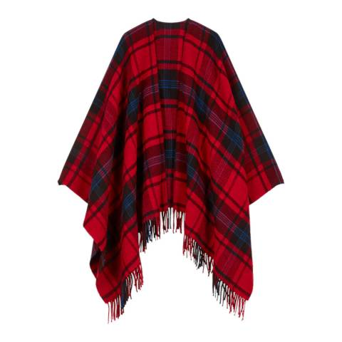 MAJE Red Emmo Checked Poncho