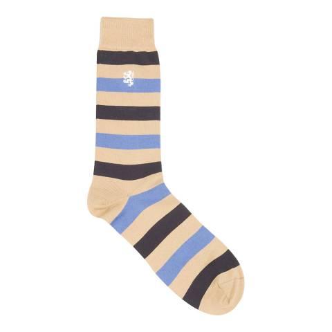 Pringle Light Khaki Collection Sea Island Stripe Sock