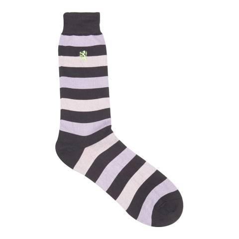 Pringle Charcoal Collection Sea Island Stripe Sock