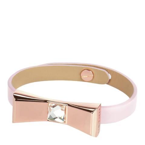 Ted Baker Baby Pink Justine Leather Bow Bracelet