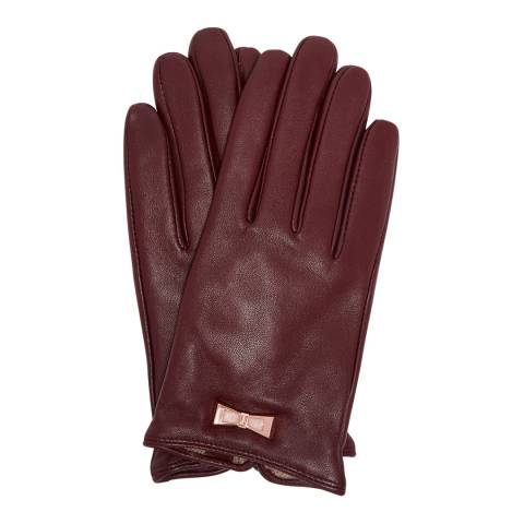 Ted Baker Purple Betanie Bow Detail Leather Gloves