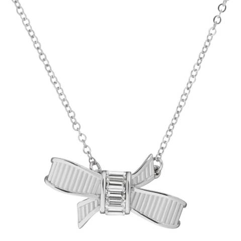 Ted Baker Silver Dameka Ribbon Bow Necklace