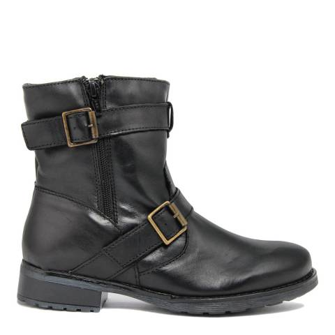 Fashion Attitude Black Double Gold Buckle Ankle Boots