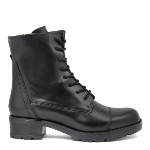 Fashion Attitude Black Chunky Heeled Leather Biker Boots