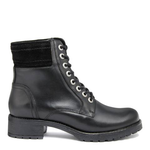 Fashion Attitude Black Pieve Heeled Leather Biker Boots