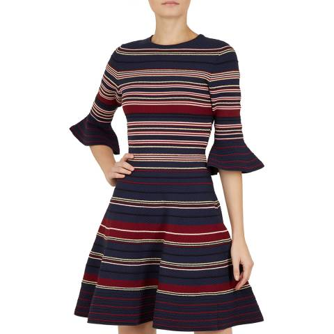 Ted Baker Dark Blue Tayiny Stripe Ottoman Dress