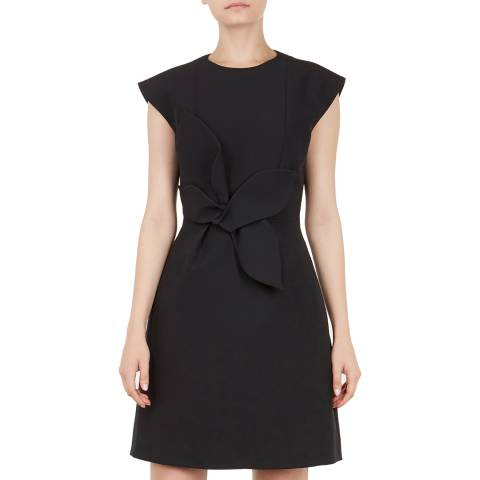 Ted Baker Black Polly Cap Sleeve Structured Bow Dress