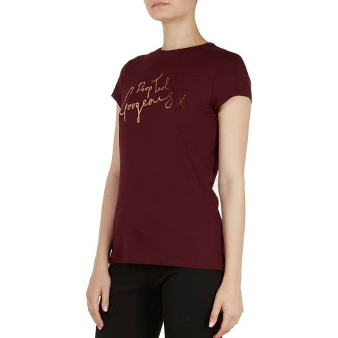 Ted Baker Dark Red Maddlyn Drop Ted Gorgeous Fitted Tee