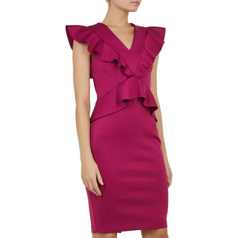 Ted Baker Deep Pink Alair Ruffle Peplum Bodycon Dress