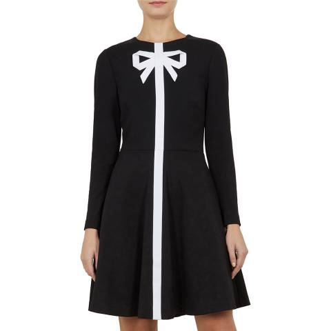 Ted Baker Black Gilleen Bow Neck Skater Dress