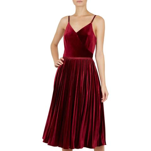 Ted Baker Maroon Khim Velvet Pleated Midi Dress