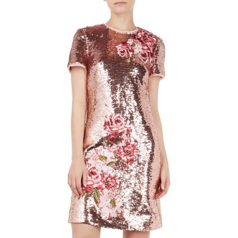 Ted Baker Pink Marrta Embroidered Sequin Shift Dress