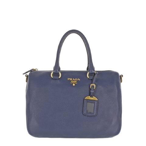 Prada Blue Leather Tote Bag