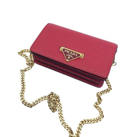Prada Red Leather Shoulder Bag