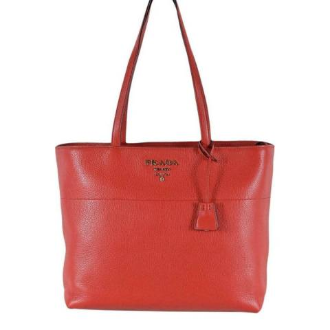 Prada Red Large Leather Tote Bag