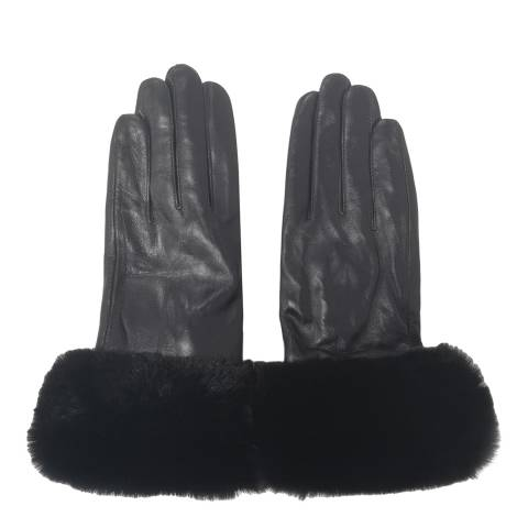 JayLey Collection Black Faux Fur Leather Gloves