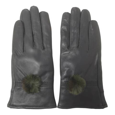 JayLey Collection Green Leather Gloves With Faux Fur Pom