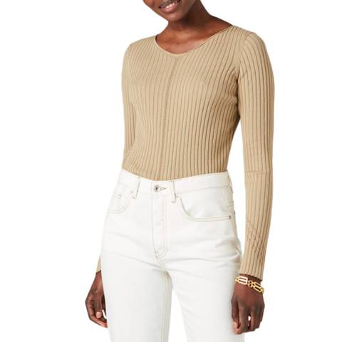 Jigsaw Beige Boat Neck Cotton Jumper