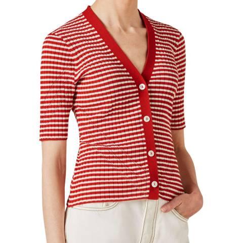 Jigsaw Red Stripe Crepe Rib Cotton Cardigan