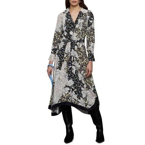 Jigsaw Black/Multi Floral Collage Dress