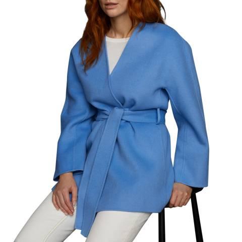 Jigsaw Blue Double Face Wrap Wool Blend Coat