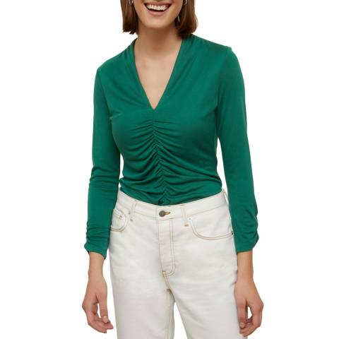 Jigsaw Gathered V Neck Jersey Top