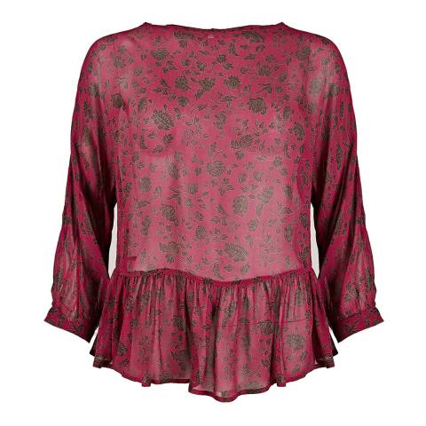 BY IRIS Red Itson Print Frill Top