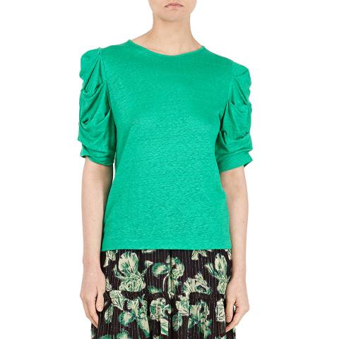BY IRIS Green Raelie Ruched Tee