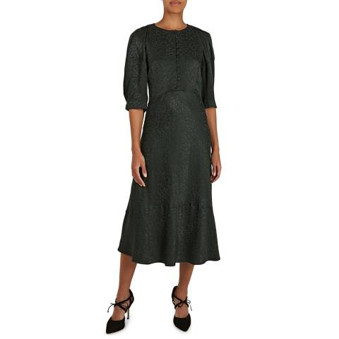 BY IRIS Green Lana Jacquard Dress