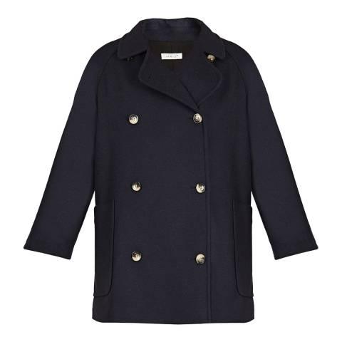 BY IRIS Navy Wool Blend Libby Pea Coat
