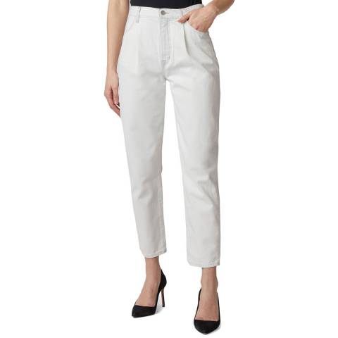 J Brand White Pleat Front Peg Jeans