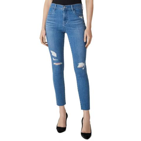 J Brand Blue Distressed Alana Skinny Stretch Jeans