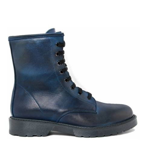 LAB78 Blue Leather Ankle Boot
