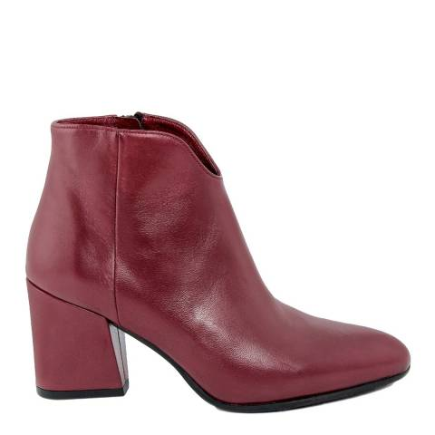 LAB78 Burgundy Leather Ankle Boot