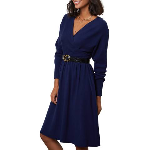 SOFT CASHMERE Navy Cashmere Blend Dress