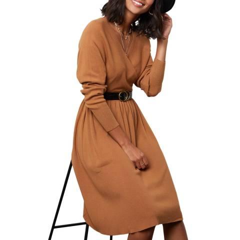 SOFT CASHMERE Tan Cashmere Blend Dress