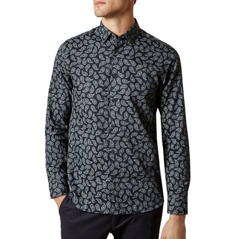 Ted Baker Navy Lapins Paisley Print Shirt
