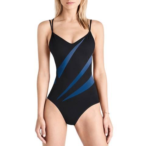 Wolford Electric Blue/Black Sail Print Forming Beach Body