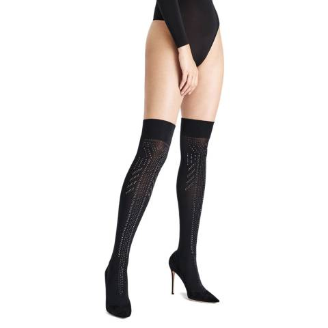 Wolford Black Treasure Star Overknees
