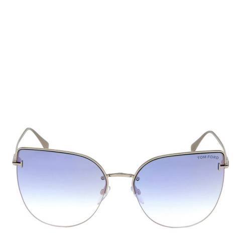 Tom Ford Women's Shiny Palladium/Blue Tom Ford Sunglasses 60mm