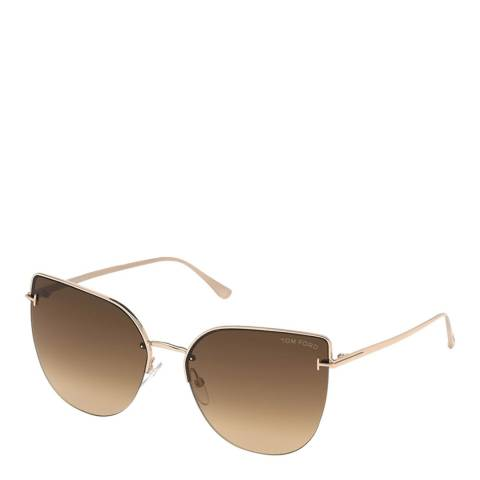 Tom Ford Women's Shiny Rose Gold/Brown Tom Ford Sunglasses 60mm